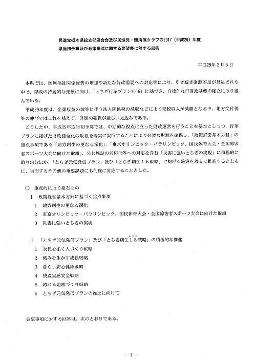 新年度当初予算編成に向けた政策推進要望に対する知事回答!01