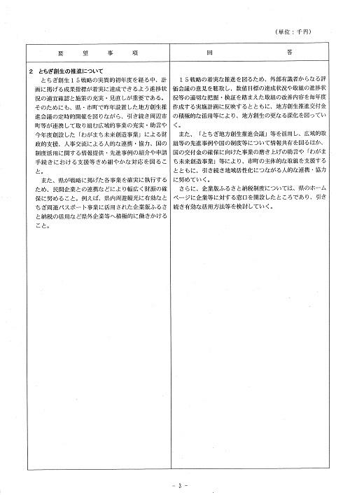 新年度当初予算編成に向けた政策推進要望に対する知事回答!03