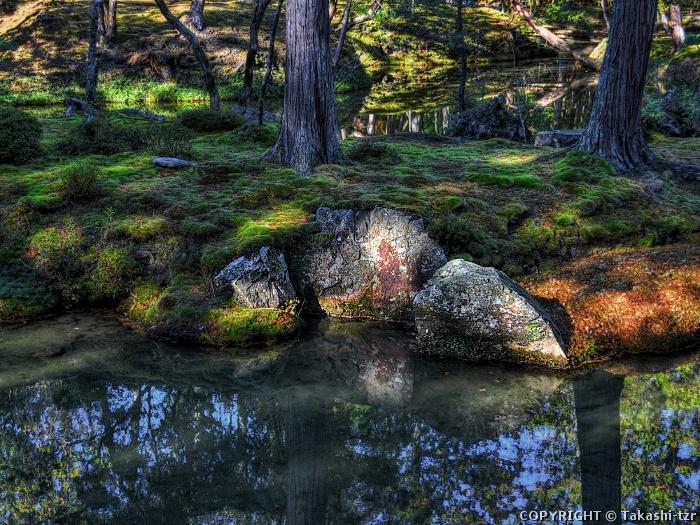 西芳寺庭園黄金池南島三尊石