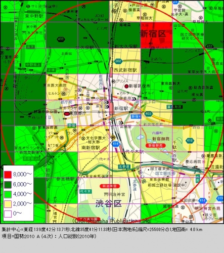 新宿1人口分布図
