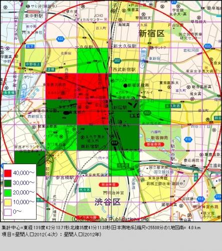 新宿2昼間人口分布図