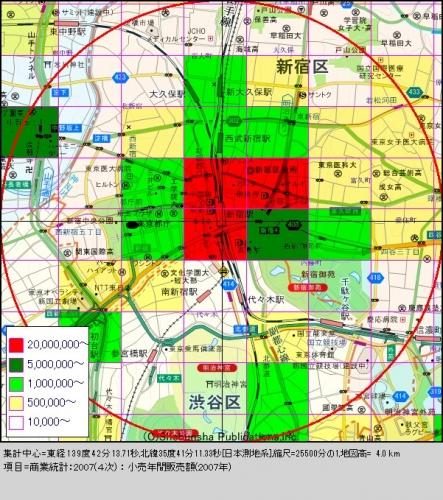 新宿3購買人口分布図