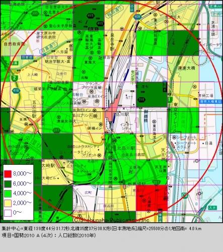 品川1人口分布図