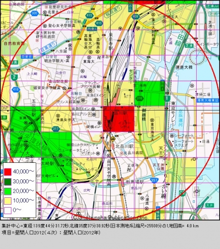 品川2昼間人口分布図