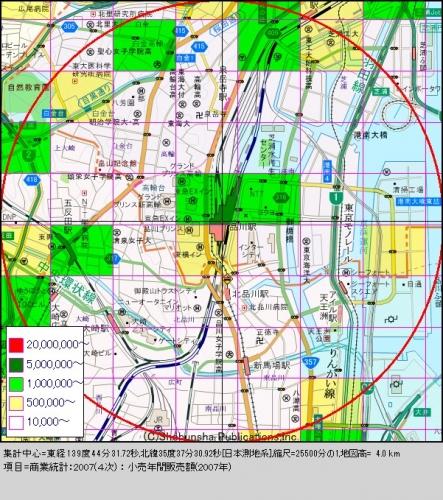 品川3購買人口分布図