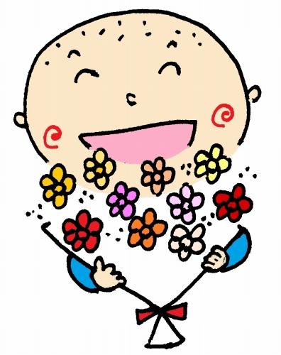 500こまめ 花束を持つ カラー