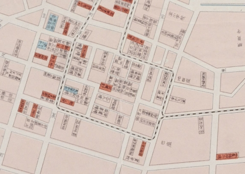 函館港名家及実業家一覧地図(明治30年代)