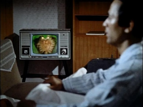 テレビからユシマ博士に語りかけるビラ星人