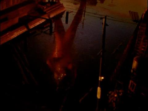 夕焼けの水面に映るウルトラセブン