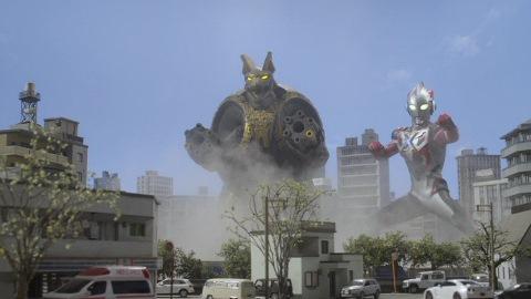 ガーゴルゴンを迎え撃つルディアンとウルトラマンエックス