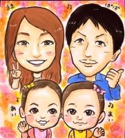 家族四人似顔絵
