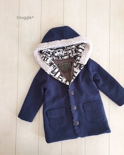 1ブルちゃん×縄編み柄キルトコートサンプル