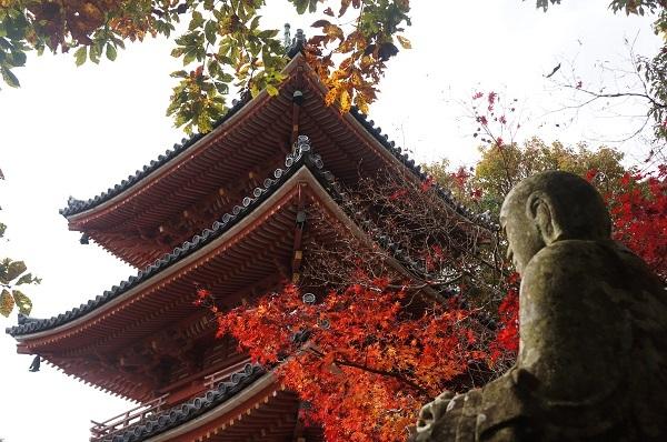 露座の大日如来?と宝福寺の三重塔