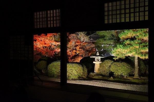 特別公開の方丈内部から、ビューポイントから庭を撮影