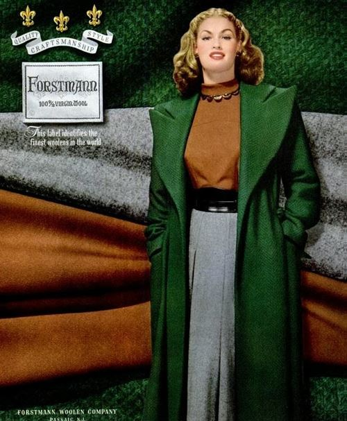 1947 green wool coat grey suit post war fashionwastevuille2011