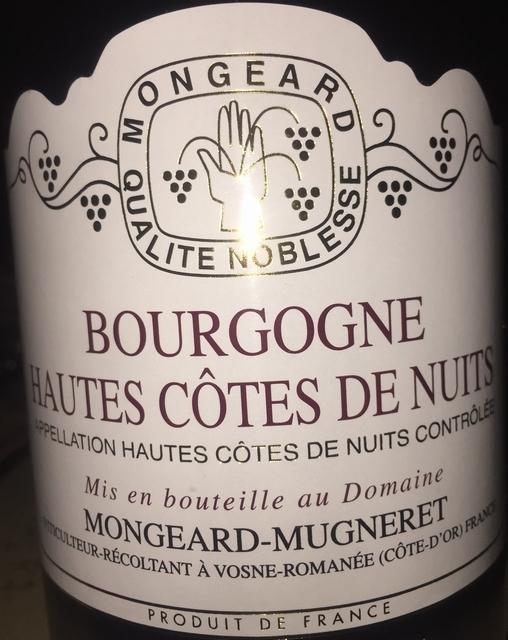 Bourgogne Hautes Cotes de Nuits Mongeard Mugneret 2012