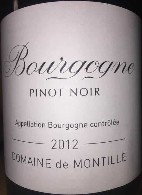 Bourgogne Pinot Noir Domaine de Montille 2012