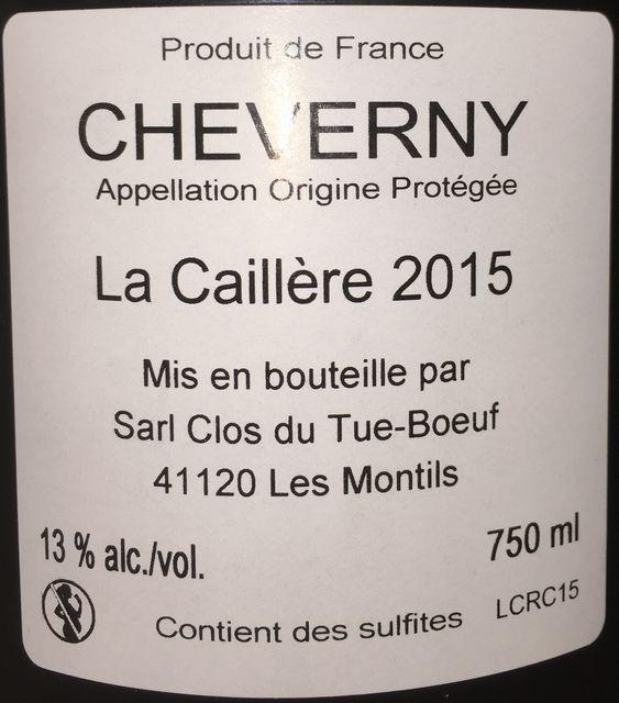 Cheverny Rouge La Caillere Clos du Tue Boeuf 2015 part2