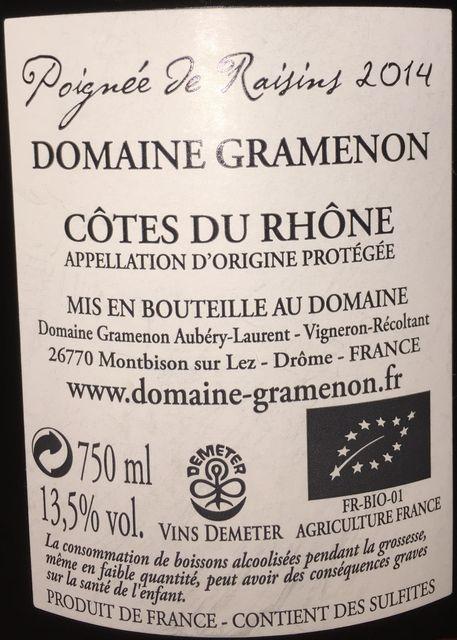 Cotes du Rhone Domaine Gramenon 2014