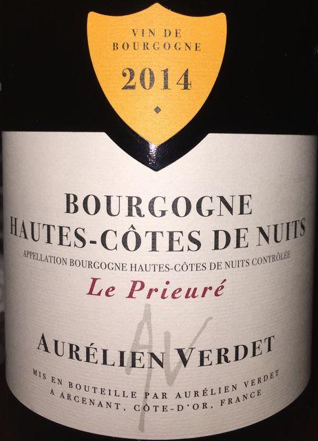 Bourgogne Hautes Cotes de Nuits Le Prieure Aurelien Verdet 2014