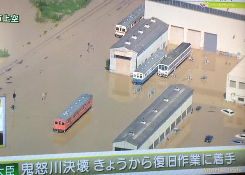 水没する水海道車両基地
