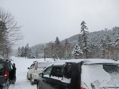 藻琴山キャンプ場入口(冬)