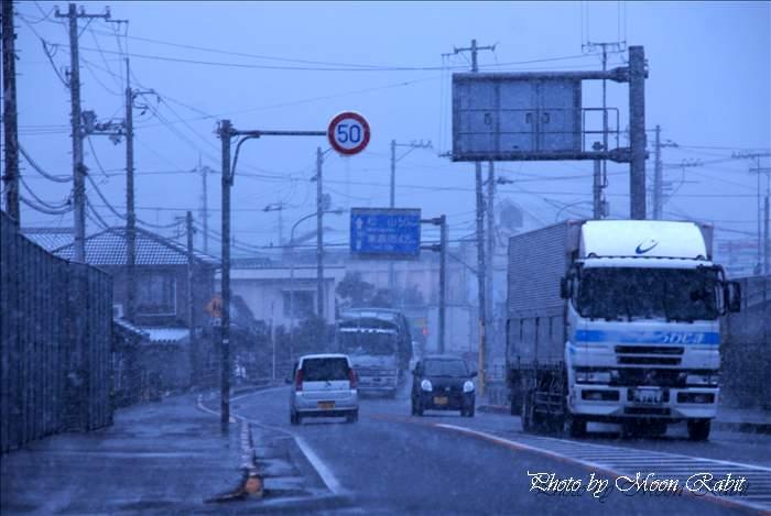 市街地の降雪 愛媛県西条市