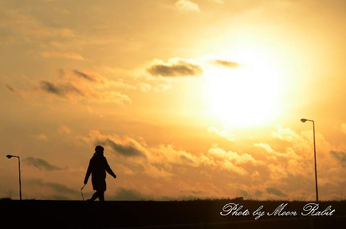 散歩する少女 加茂川堤防