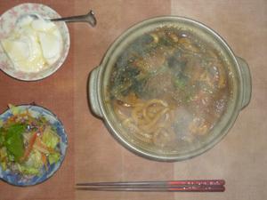 カレーうどん,肉野菜炒め,オリゴ糖入りヨーグルト