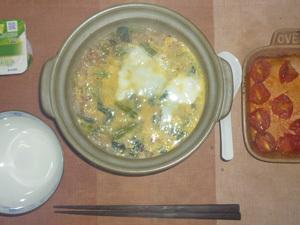 ほうれん草と玉葱のおじや(玉子とじ),プチトマトのオーブン焼きオリーブオイル掛け,ヨーグルト