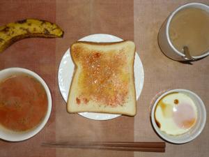 イチゴジャムトースト,トマトスープ,目玉焼き,コーヒー,バナナ