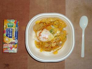 親子丼,野菜ジュース