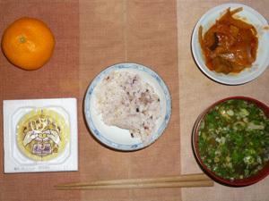 胚芽押麦入り五穀米,納豆,野菜のトマトソース煮込み,分葱とほうれん草のおみそ汁,みかん
