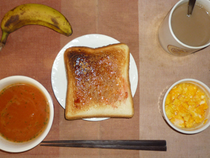 イチゴジャムトースト,トマトスープ,スクランブルエッグ,バナナ,コーヒー