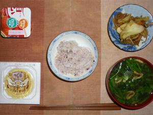 胚芽押麦入り五穀米,納豆,野菜炒め,ほうれん草と油揚げのおみそ汁,ヨーグルト