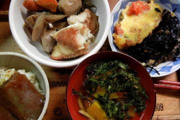 blog Cooking, Dinner, Maguro Dukedon, Akauo Nimono, Eggs & Tomato, Hijiki & Seaweed Soup_DSCN3183-10.14.16.jpg