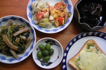 blog Cooking, Lunch, Cheese toast, Hijiki, Jakoten with Kushinsai, Artichoke Salad_DSCN3199-10.17.16.jpg