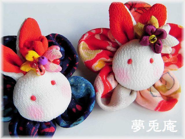 ブローチ―花うさぎ (2)