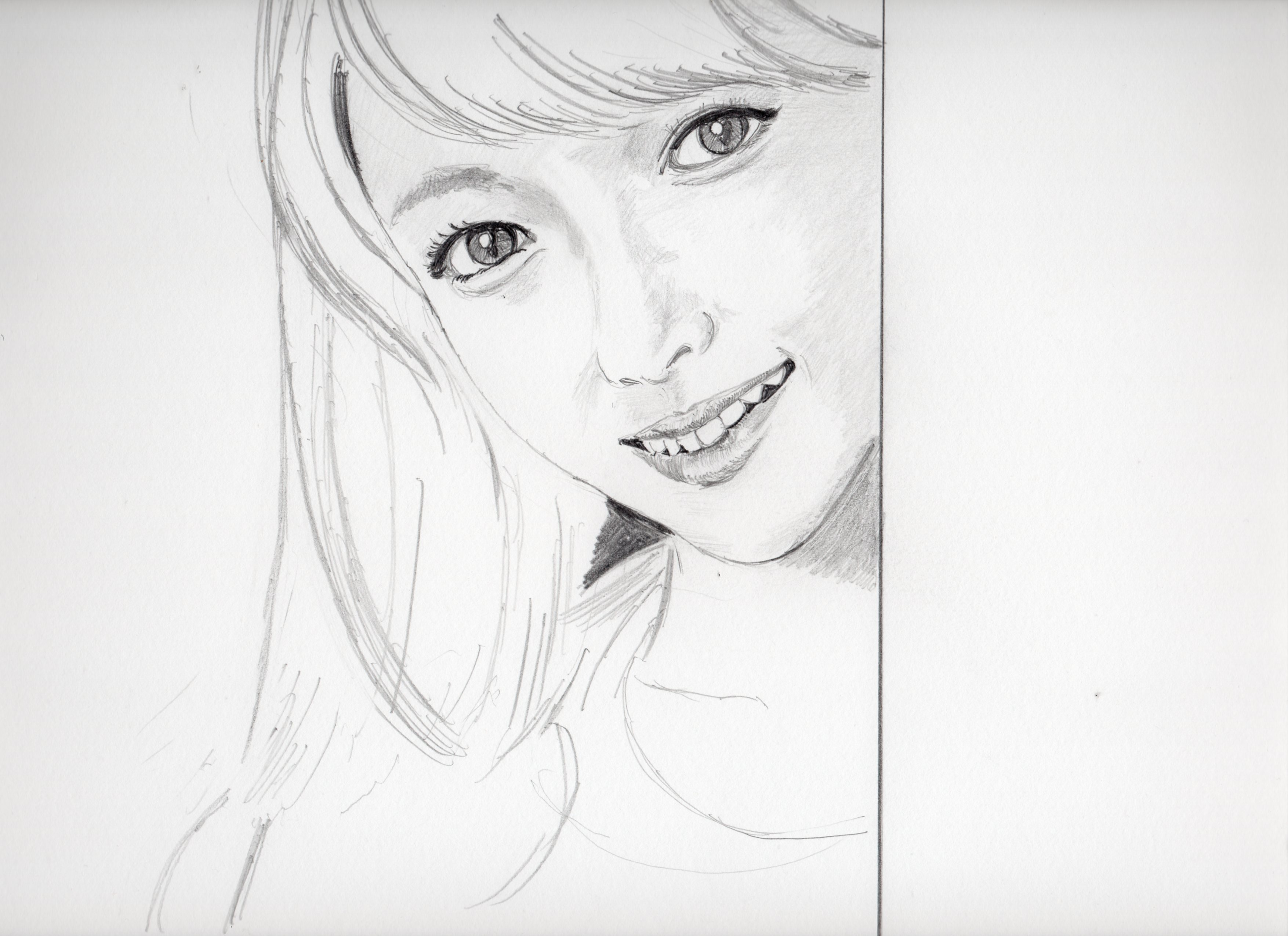 深田恭子の鉛筆画似顔絵途中