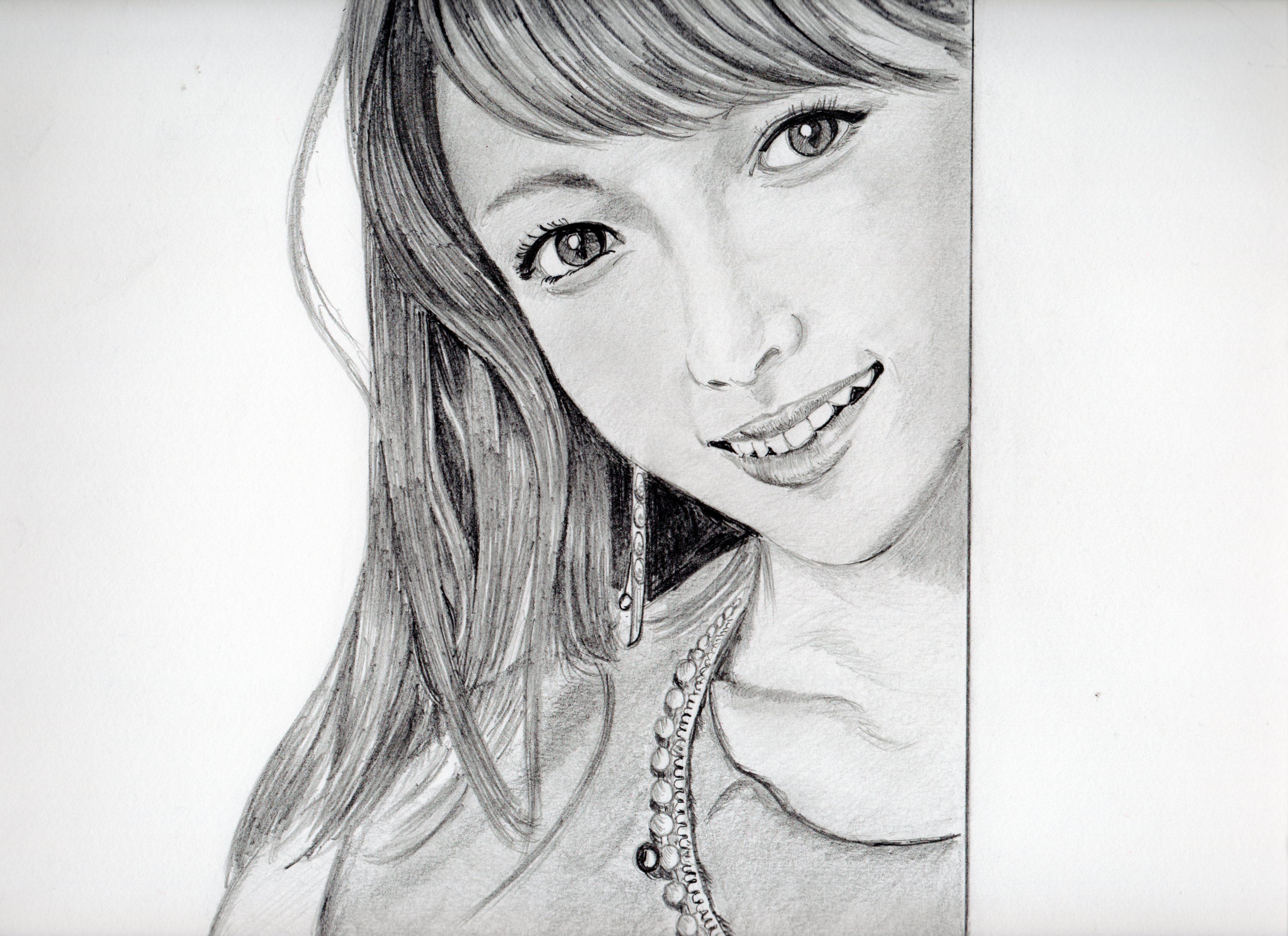 深田恭子の鉛筆画似顔絵、深田恭子のリアル鉛筆画似顔絵