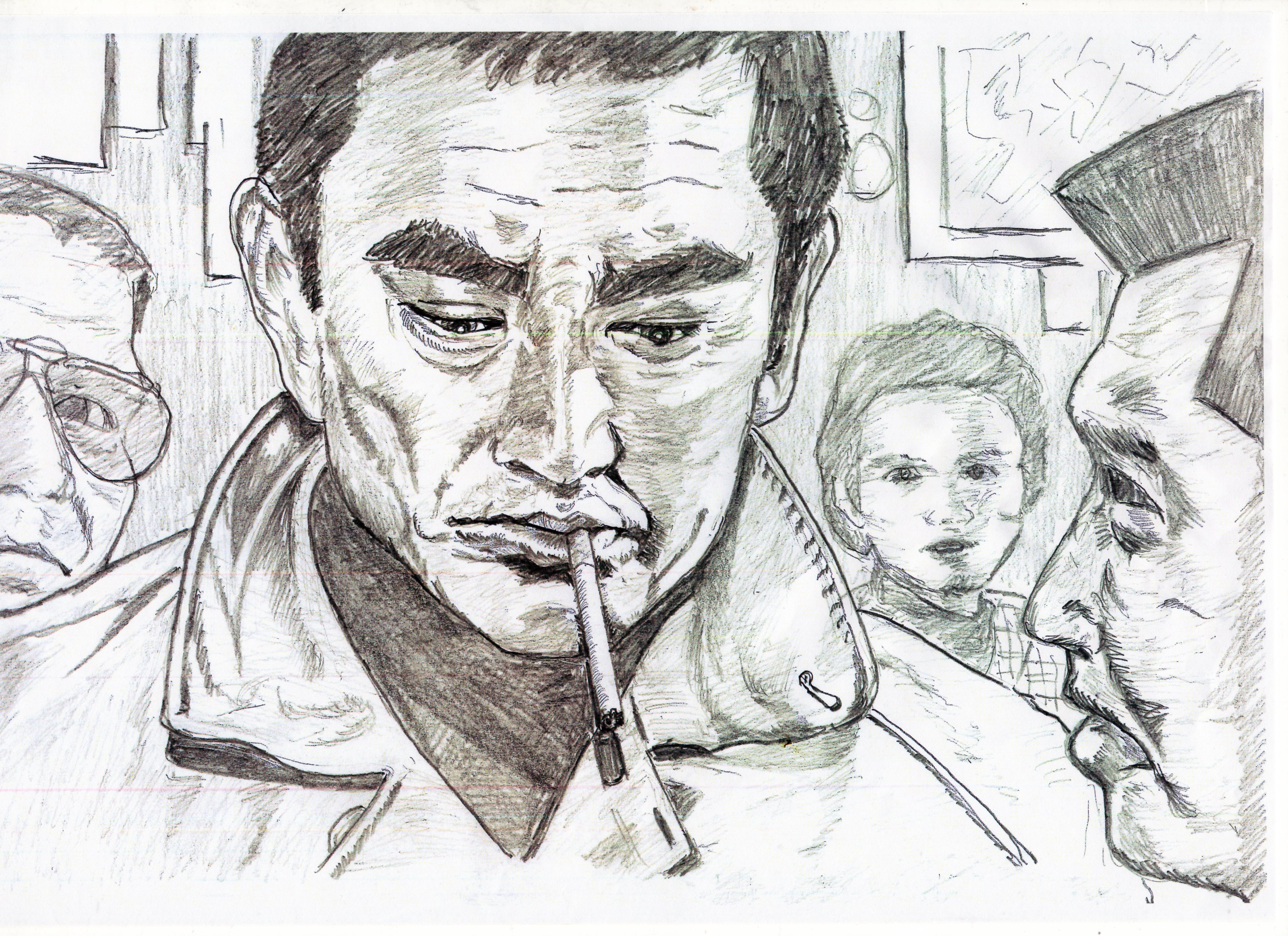 高倉健の鉛筆画似顔絵