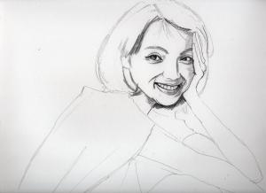 満島ひかりの鉛筆画似顔絵途中