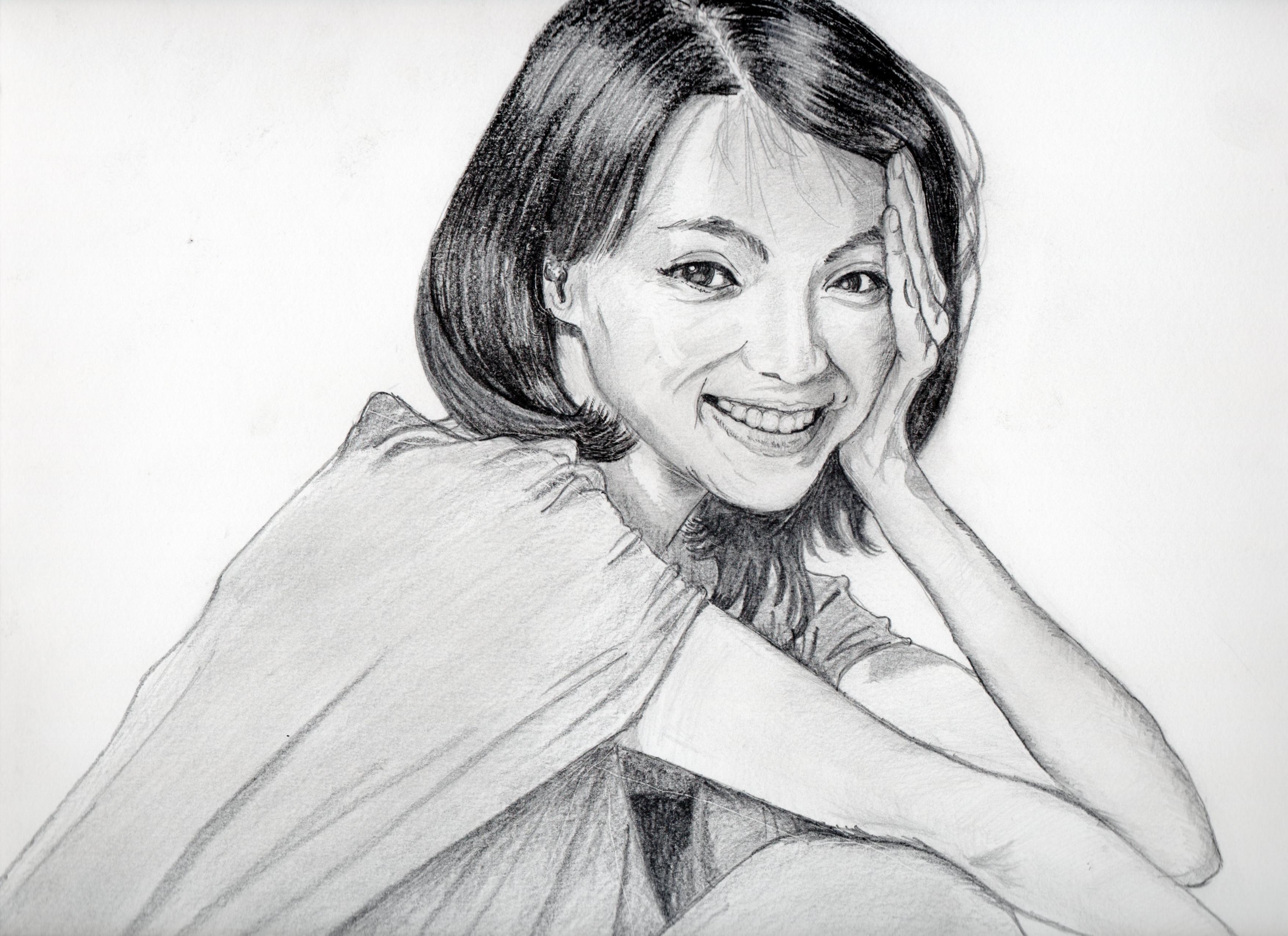 満島ひかりの鉛筆画似顔絵、満島ひかりのリアル鉛筆画似顔絵