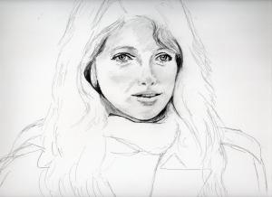 ジョアンナ・シムカスのリアル鉛筆画似顔絵途中