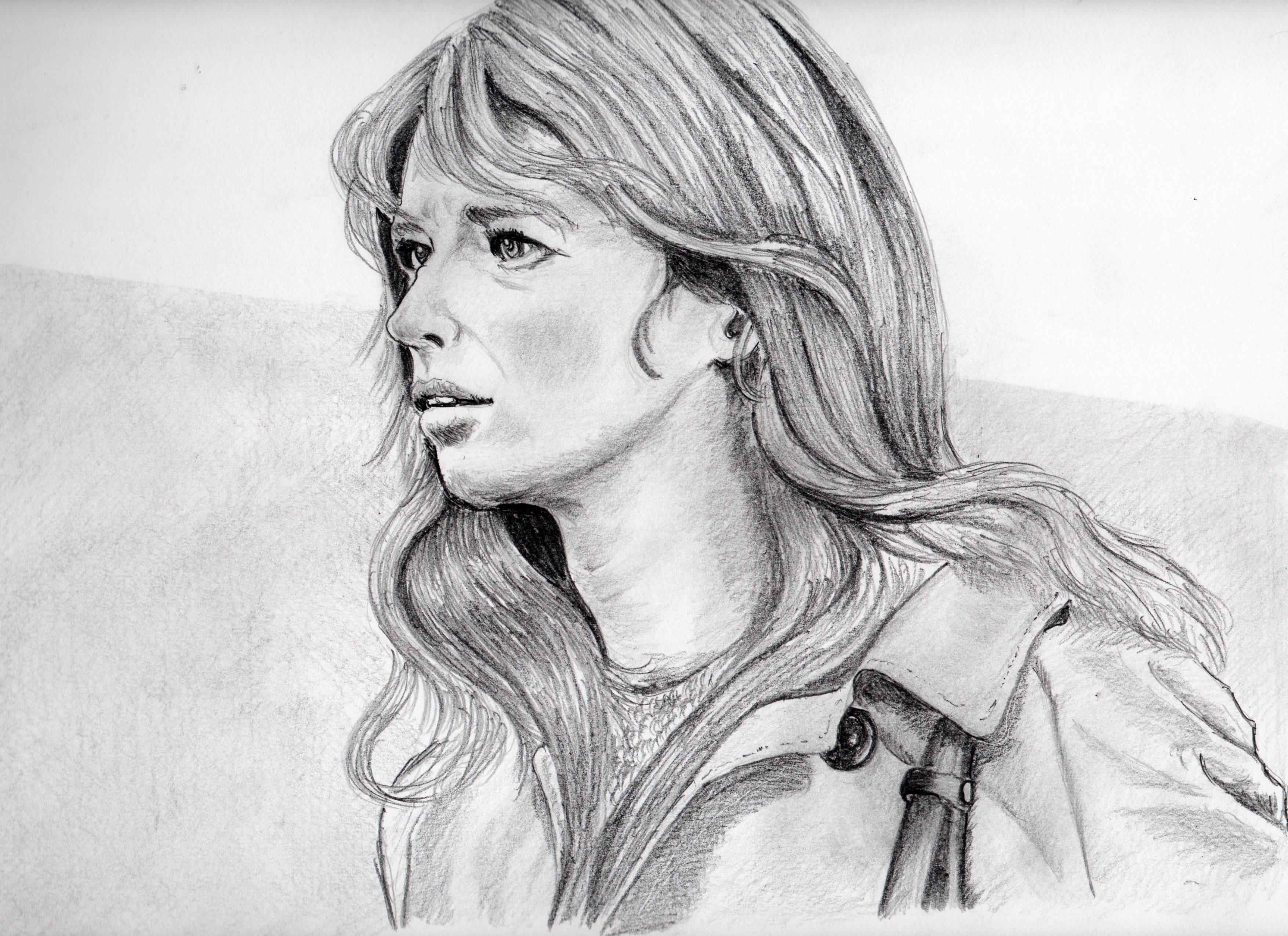 """ジョアンナ・シムカスの鉛筆画似顔絵、ジョアンナ・シムカスの鉛筆画リアル似顔絵"""""""""""