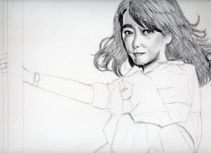 小林麻美のリアル鉛筆画似顔絵途中