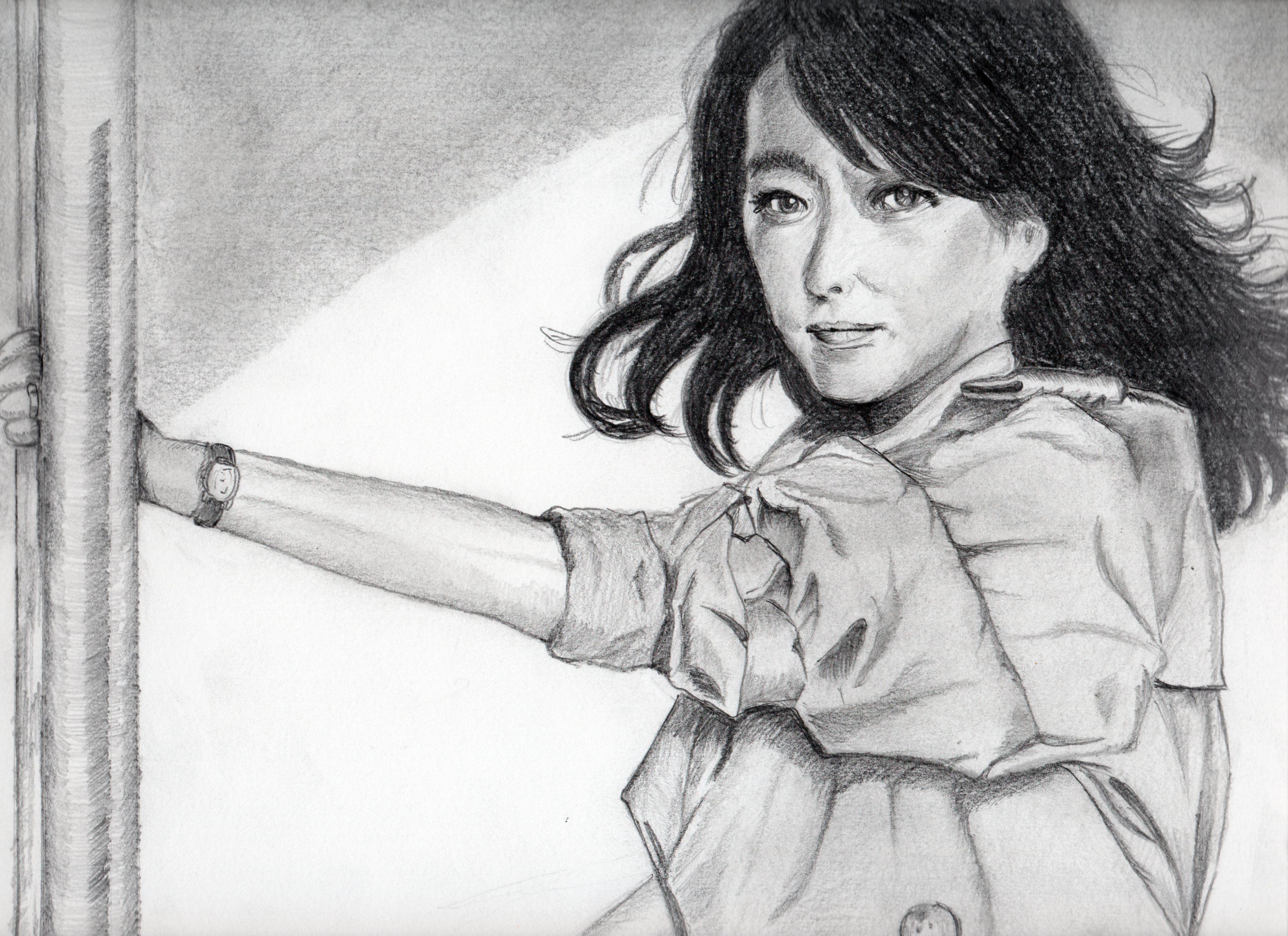 小林麻美の鉛筆画似顔絵、小林麻美のリアル鉛筆画似顔絵