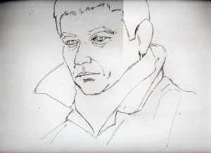 高倉健のリアル鉛筆画似顔絵途中
