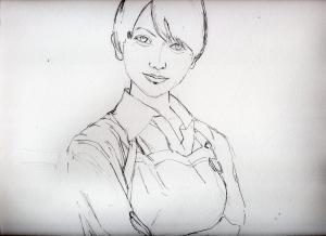 真木よう子のリアル鉛筆画似顔絵途中