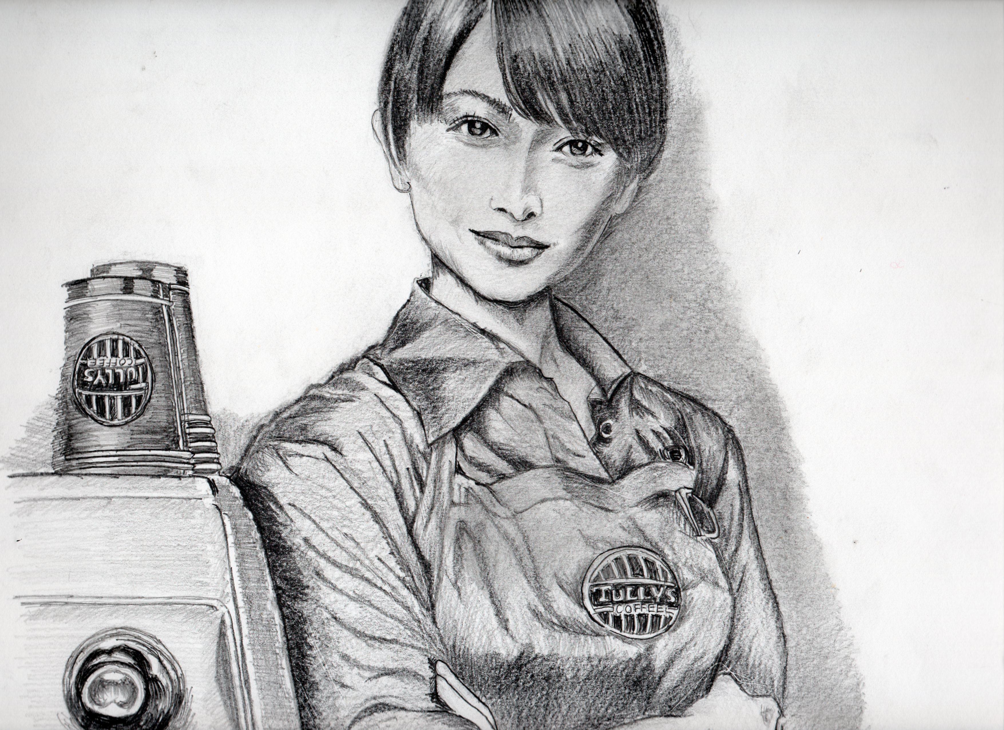 真木よう子の鉛筆画似顔、絵真木よう子のリアル鉛筆画似顔絵